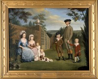 view John Coakley Lettsom, physician, with his family, in the garden of Grove Hill, Camberwell, ca. 1786. Oil painting, ca. 1786.