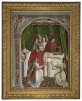 view A verger's dream: Saints Cosmas and Damian performing a miraculous cure by transplantation of a leg. Oil painting attributed to the Master of Los Balbases, ca. 1495.