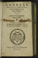 view De humani corporis fabrica libri septem / [Andreas Vesalius].