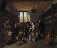 view Interior of a pharmacy, with four figures. Oil painting by Jos. van Brée, 1860.
