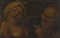 view A man pointing to a woman with her hands clasped. Oil painting after Pieter Huys (?).