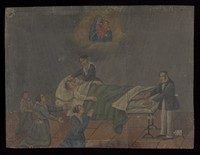 view Votive picture: three people pray to the Virgin and Child for a patient in bed, a woman mops the patient's brow and a surgeon lets blood from the foot. Oil painting.
