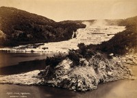 view Pink and White Terraces, New Zealand: terraced thermal pools on the edge of Lake Rotomahana. Albumen print by Burton Bros.