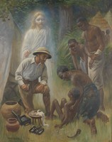 view A medical missionary attending to a sick African. Oil painting by Harold Copping, 1916.