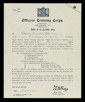 """view Certificate """"B"""" / Officers Training Corps."""