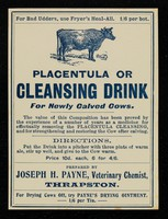 view Placentula, or Cleansing drink for newly calved cows... / prepared by Joseph H. Payne.