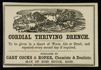 view Cordial thriving drench / prepared by Cary Cocks and Roper.
