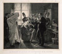 view Rabies vaccination in Pasteur's laboratory in Paris. Lithograph by F. Pirodon, 188-, after L.-L. Gsell.