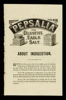 "view ""Pepsalia"" : the digestive table salt : about indigestion / G. & G. Stern."