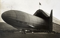 view World War One: the German zeppelin Viktoria Luise emerging from its hangar. Photograph, 1912/1915.