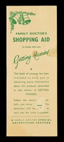 view Family Doctor's shopping aid to those who are getting married : this book of coupons has been included to help you in obtaining more information about the products advertised... : a Family Doctor special advertising feature.