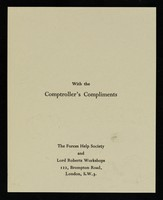 view With the comptroller's compliments / The Forces Help Society and Lord Roberts Workshops.