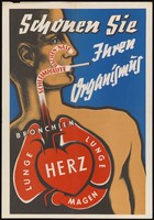 view A woman smoking a cigarette, showing the route through which the smoke passes to the heart and lungs, as a warning against smoking. Colour lithograph, ca. 1940.