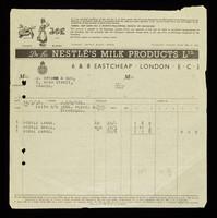 view Dr. to Nestlé's Milk Products Ltd. : 6 & 8 Eastcheap, London, E.C.3.