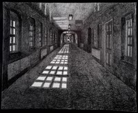 view High Royds Hospital, Menston, Ilkley, Yorkshire: a corridor. Pencil drawing by Paul Digby, 2003-2004.