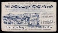 "view The ""Allenburys"" Milk Foods : calendar blotter, March 1905 / Allen & Hanburys, Ltd."