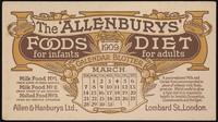 view The 'Allenburys' foods for infants, diet for adults : calendar blotter, March 1909 / Allen & Hanburys Ltd.