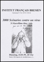 view A man pulling a condom over his face; advertising a screening of short films on protection against AIDS. Print, 1995, after drawing by R. Topor, 1993.