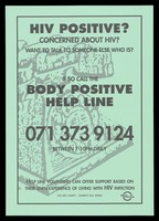 view Advertisement for the Body Positive help line for those with HIV, incorporating a telephone in the background. Colour lithograph.