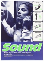 view An Asian woman in a telephone box listening to the telephone, four symbols of sound or soundness (telephone, exclamation mark with telephone number, condom and syringe); representing support for HIV positive drug-users. Colour lithograph by Photo Co-op, Glover/Huges and Big-Active Ltd. for Mainliners, 1990/1995.