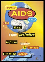 view Two world globes advertising World AIDS day. Colour lithograph.
