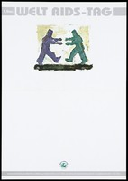 view Two people walking towards each other with their arms outstretched; representing solidarity with AIDS victims on World AIDS day. Colour lithograph, 199-.