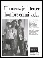 view A mother kneels between her two sons with a message in spanish; representing a single mother who takes precautions with men to protect both herself and her children against AIDS; a poster from the America responds to Aids advertising campaign. Lithograph.