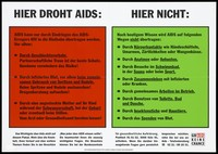 view The most important facts about AIDS: how it is contracted and how it cannot be contracted. Colour lithograph, 199-.