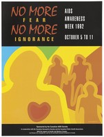 view Silhouette of figure with heart with three other figures in background; an advertisement for AIDS Awareness Week October 5 to 11, 1992 by the Canadian AIDS Society. Colour lithograph by Tohu Bohu, 1992.