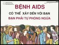 view People from different ethnic origins in Canada; advertising the Canadian Public Health Association AIDS Education and Awareness Program for Vietnamese speakers. Colour lithograph.