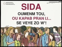 view People from different ethnic origins in Canada; advertising the Canadian Public Health Association AIDS Education and Awareness Program for Creole speakers. Colour lithograph.