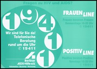 view The dial of a telephone; advertising the telephone helpline run by Berliner AIDS-Hilfe for women and HIV-positive people. Colour lithograph, 1996.