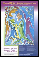 view Painted figures reach up towards the world representing an advertisement for World AIDS Day, December 1st, by the National AIDS Strategy [Canada]. Colour lithograph by Vivian Reiss and Quorum Graphics.
