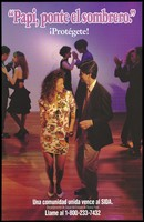 view A couple dancing on a dance floor with the words 'Papi, ponte el sombrero' representing a warning to protect against AIDS by the New York State Department of Health. Colour lithograph.