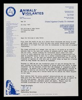view Animals' Vigilantes : founded 1965... united against cruelty to animals.