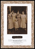 view A group of women and a child stand with their arms around each other wearing dresses representing unity and strength; advertising a support group for HIV positive women by the AIDS Action Council of the ACT, Australia. Colour lithograph.