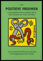 view Two figures in the shape of scissors cutting a serpent in half representing an advertisement for Positive Women, a help group for women with HIV/AIDS by the HIV Vereniging Nederland. Colour lithograph by K. Haring.
