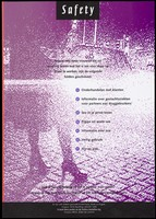view The legs of a prostitute standing on a roadside representing a warning about the dangers of working on the street with a list of seven safe sex guidelines for prostitutes by the SOA Stichting, Utrecht. Colour lithograph, 1995.