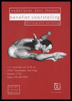 view A male dancer jumping with his body and arms horizontal representing an advertisement for an AIDS benefit performance at the AT & T Danstheater, Den Haagh [The Hague] by t.b.v. AIDS Fonds. Colour lithograph.