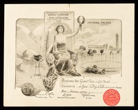 """view International exhibition of artistic furniture and home decorations, food, health and pharmacy 1907 : Crystal Palace, London : diploma for Grand-Prix with gold medal awarded to """"Ajax"""" dry-cell (section speciale de medecine) for electric-system...  / British Electric System."""