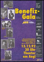 view Benefit performance organised by Hannöversche AIDS-Hilfe e.V. Colour lithograph after B. Schafertöns, 1992.