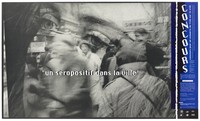 view A face bearing a blurred bustling street scene; representing an an HIV positive person in the city. Colour lithograph by Marc Petaud, 1989, for CRIPS (Centre Régional d'Information et de Prévention du SIDA).