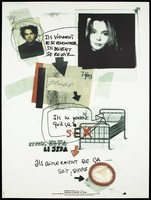 view A collage directed by downward arrows of a photograph of a man, a woman, a drawing of a bed and a condom interpersed with lettering relating to a couple who meet but then come into contact with AIDS; one of a series of posters representing an advertisement for a competition for posters of images against AIDS. Colour lithograph by Delphine Chanet.