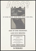 view A naked male torso split between two boxes with another third box at the bottom enclosing details of AIDS helplines available to gay men in Freiburg. Lithograph, 199-.