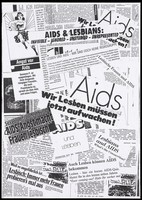 """view Newspaper cuttings about AIDS and lesbians with the words: """"Invisible, ignored, unstudied, unrepresented"""". Photocopy."""