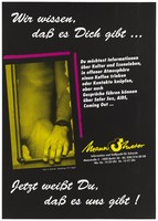 view A naked man baring one leg and part of his groin with one hand resting on a window frame; advertising safe sex services provided by Mannometer. Colour lithograph by S. Schmidt and H.G. Kegel, 199-.