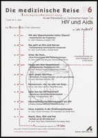 view Leonardo da Vinci's Vitruvian Man forms the backdrop to a list of dates for the 1996 'Medical journey' meetings about HIV and AIDS issues held at the Café PositHIV in Berlin by the Berliner AIDS-Hilfe. Colour lithograph.