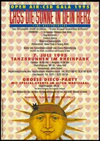 view The sun wearing a headband with a star, against a backdrop of hearts; advertising a Christopher Street Day Gala in Cologne on 7 July 1995. Colour lithograph by Gerhard Malcherek, 1995.