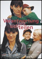 view An HIV positive mother looking worried as her son wraps his arms around her neck and the same mother looking happy as her son is held by a woman AIDS-worker. Colour lithograph by Lauterbach/ Boek for Deutsche AIDS-Hilfe e.V.