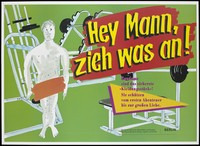 view A naked man with his private parts obscured by an orange line with gym equipment around him; an advertisement for safe sex by the Senatsverwaltung für Gesundheit un Soziales and Senatsverwaltung für Frauen, Jugend und Familie, Berlin. Colour lithograph.